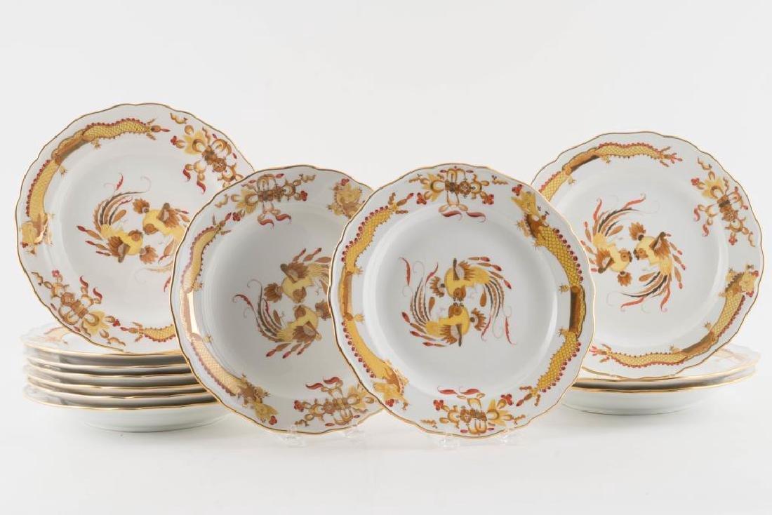 (12) MEISSEN HAND PAINTED PORCELAIN DINNER PLATES