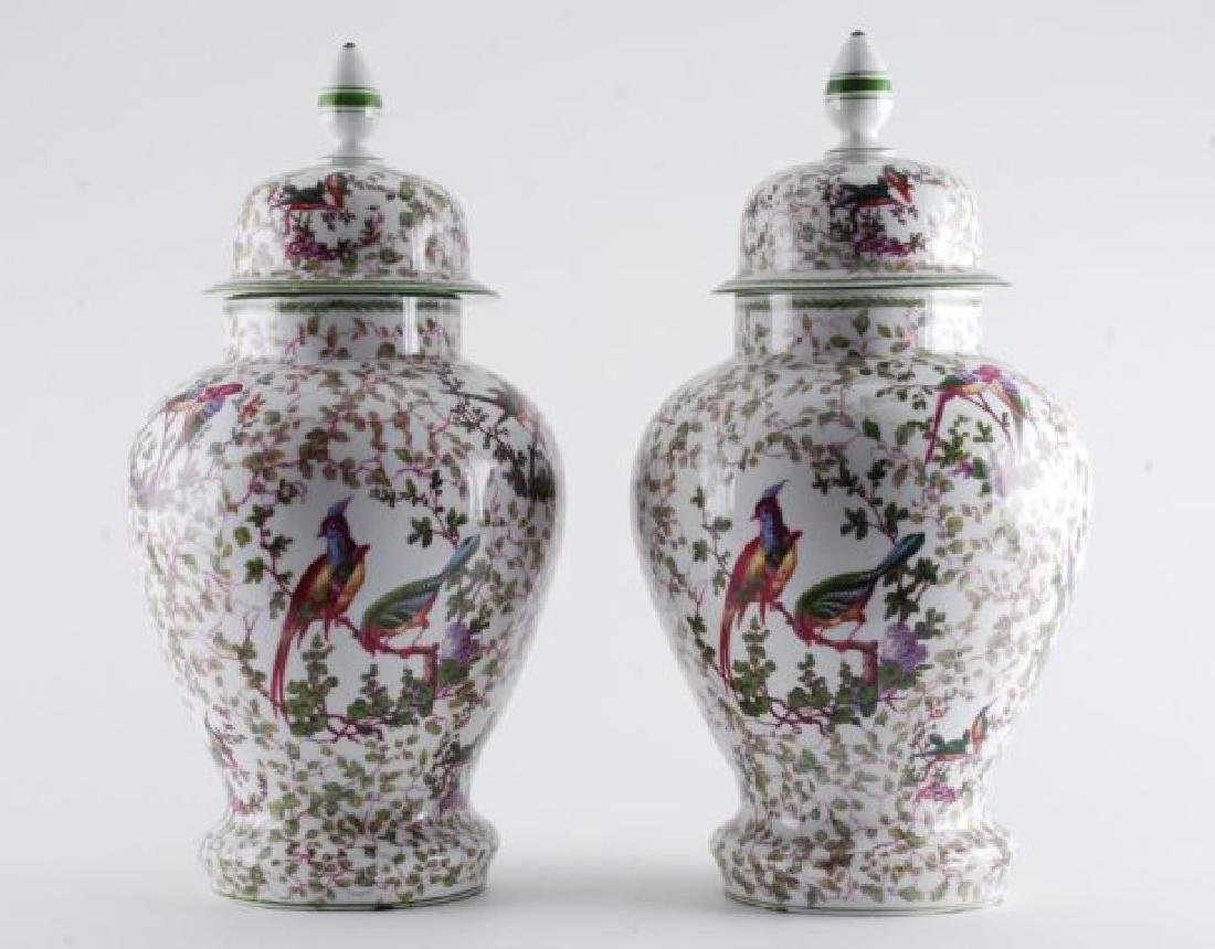 PAIR OF MIESSEN COVERED URNS