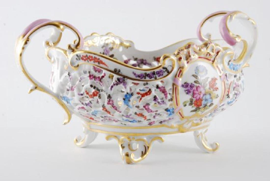FRENCH PORCELAIN PIERCED FOOTED BASKET - 10