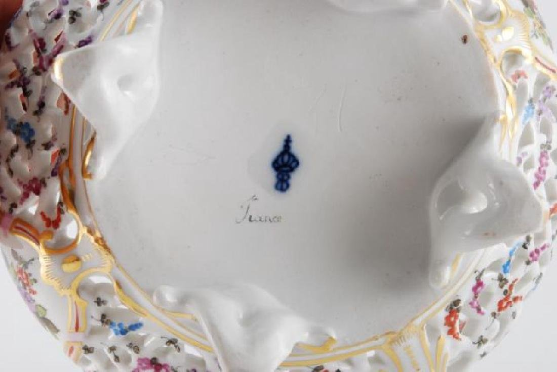 FRENCH PORCELAIN PIERCED FOOTED BASKET - 3
