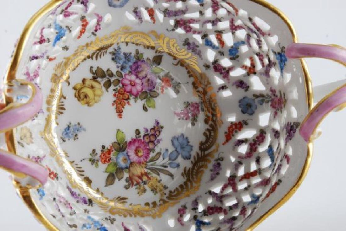 FRENCH PORCELAIN PIERCED FOOTED BASKET - 4