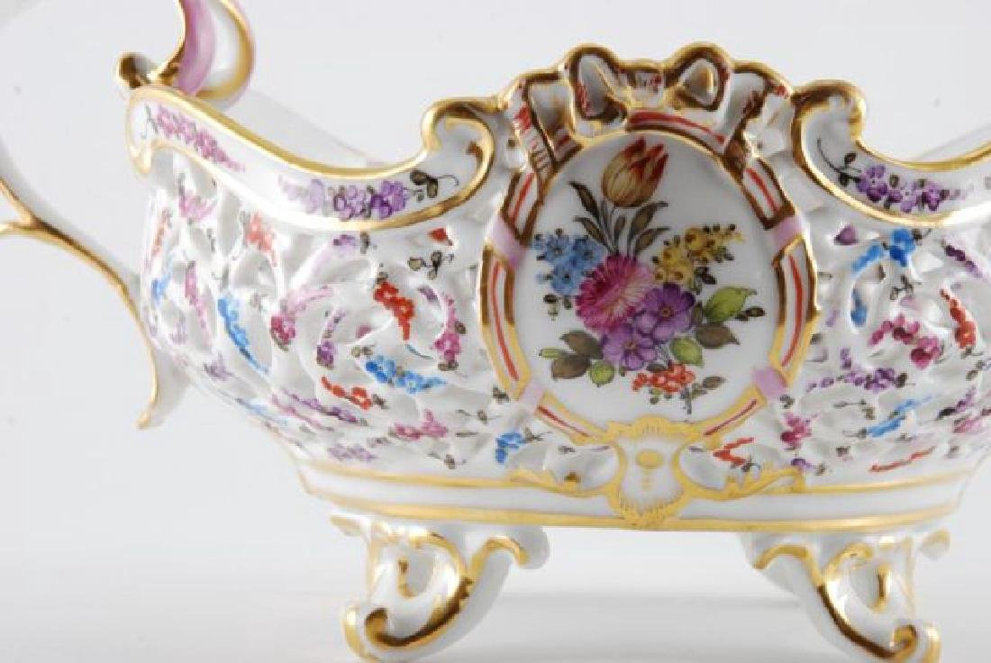 FRENCH PORCELAIN PIERCED FOOTED BASKET - 6