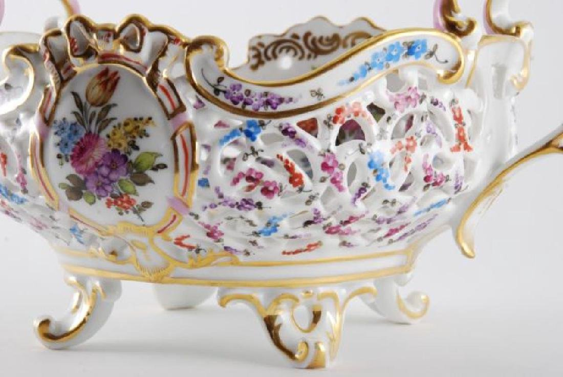FRENCH PORCELAIN PIERCED FOOTED BASKET - 7