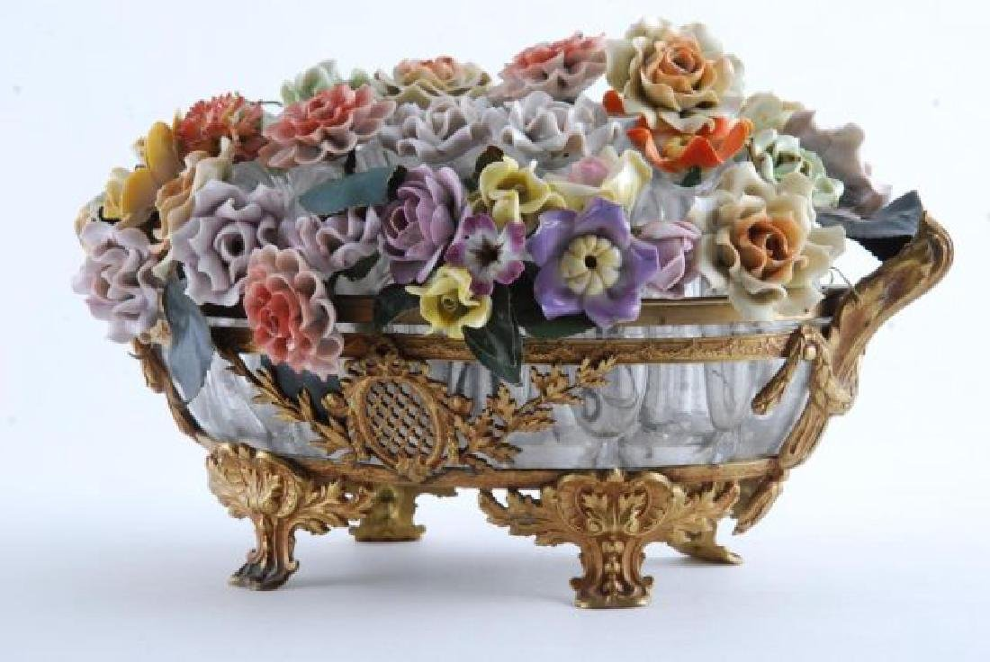 GILT BRONZE BOWL with BOUQUET of CERAMIC FLOWERS