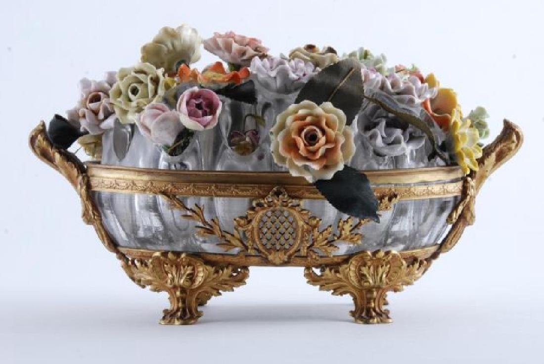 GILT BRONZE BOWL with BOUQUET of CERAMIC FLOWERS - 2
