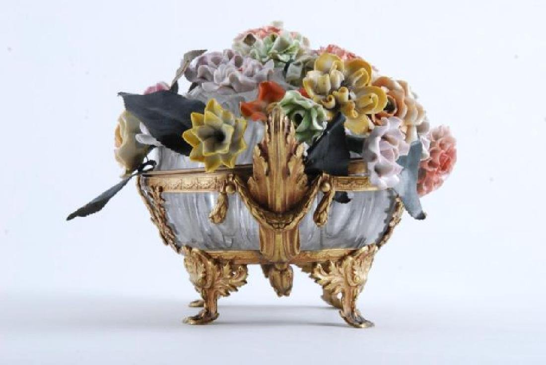 GILT BRONZE BOWL with BOUQUET of CERAMIC FLOWERS - 3