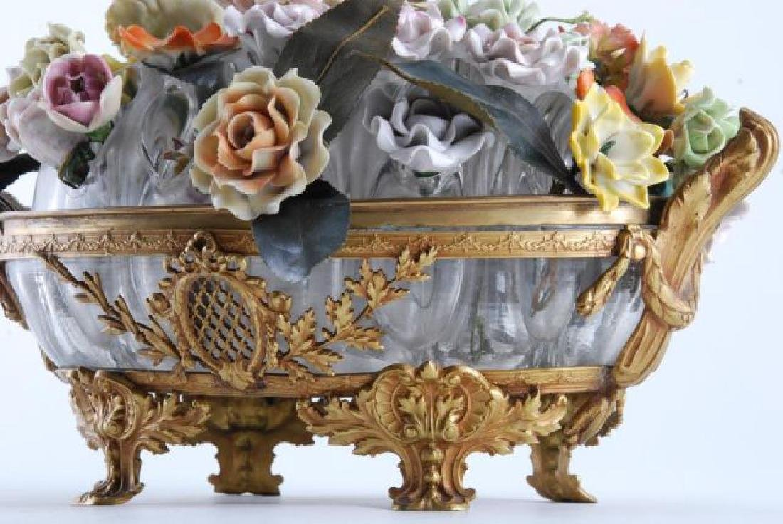 GILT BRONZE BOWL with BOUQUET of CERAMIC FLOWERS - 4