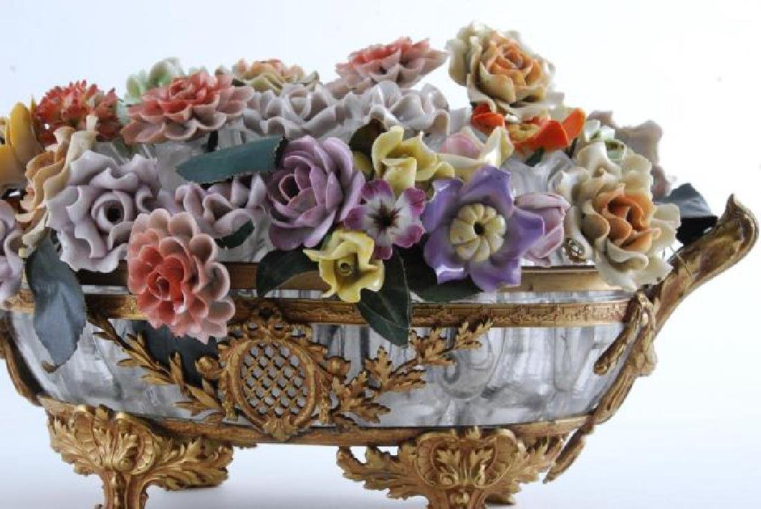 GILT BRONZE BOWL with BOUQUET of CERAMIC FLOWERS - 6