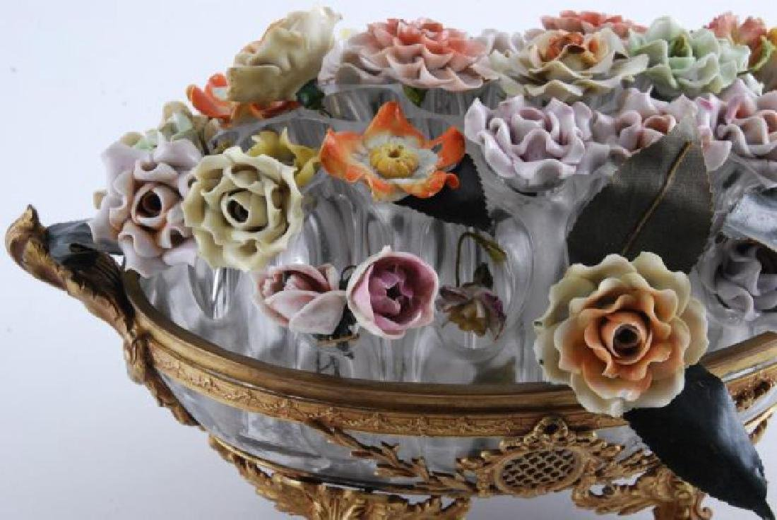 GILT BRONZE BOWL with BOUQUET of CERAMIC FLOWERS - 7