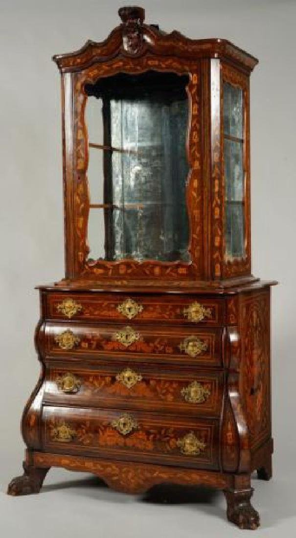 (18th/19thc) DUTCH BOMBE DISPLAY CABINET on CHEST
