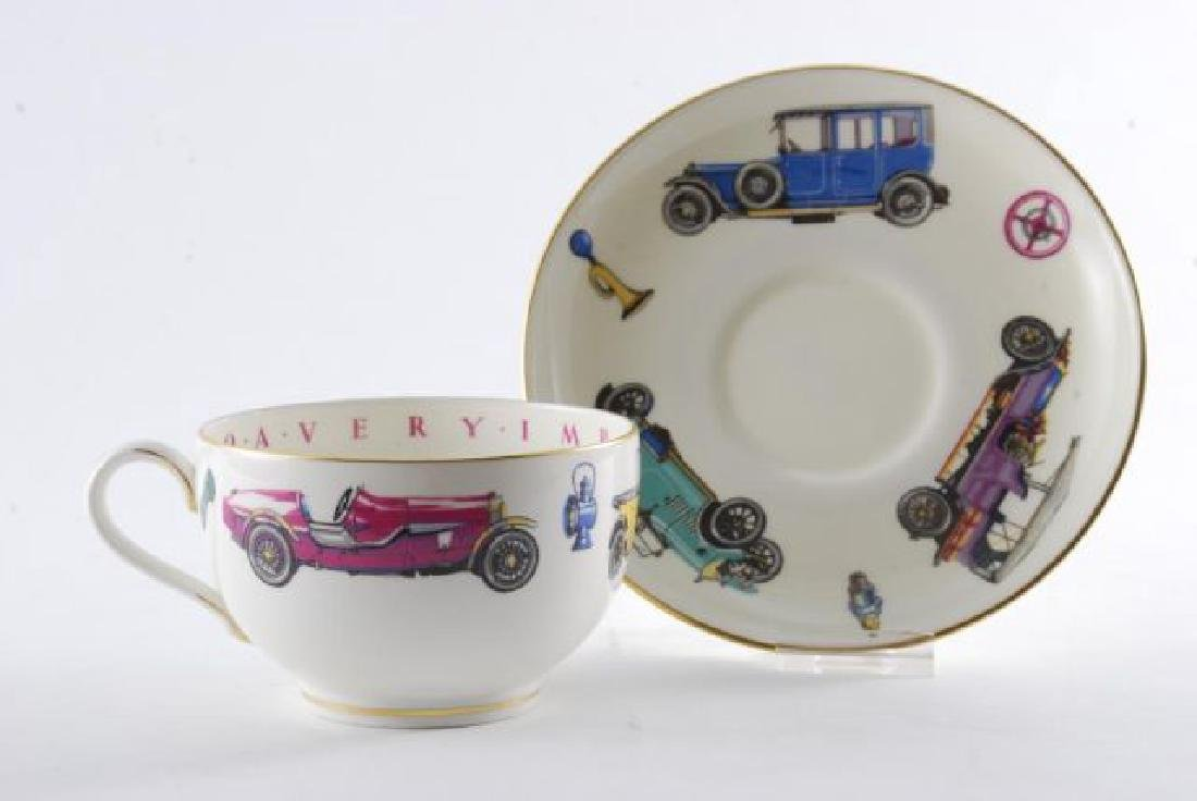 ROYAL WORCESTER OVERSIZED CLASSIC CAR CUP & SAUCER - 8