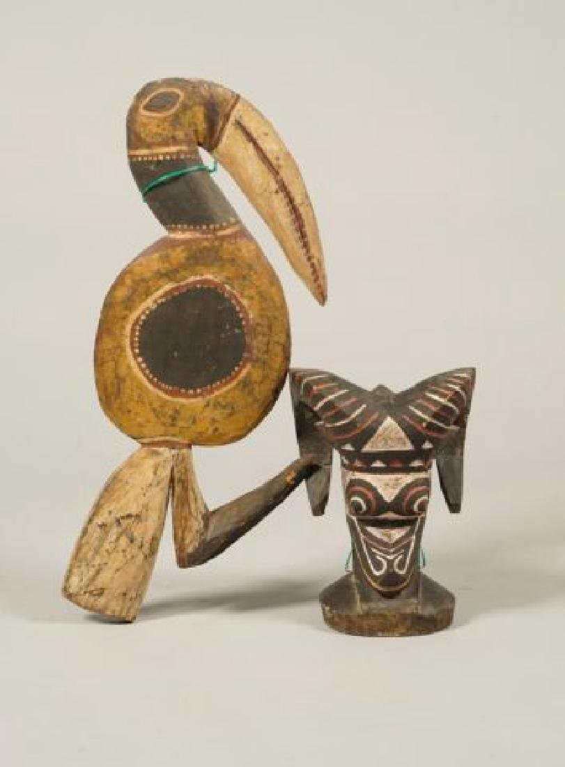 AFRICAN CARVED and PAINTED RAM AND HORNBILL