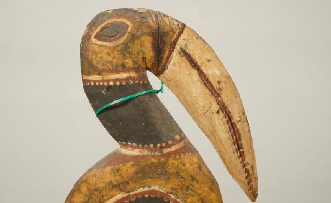 AFRICAN CARVED and PAINTED RAM AND HORNBILL - 4