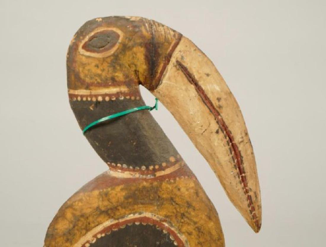AFRICAN CARVED and PAINTED RAM AND HORNBILL - 5