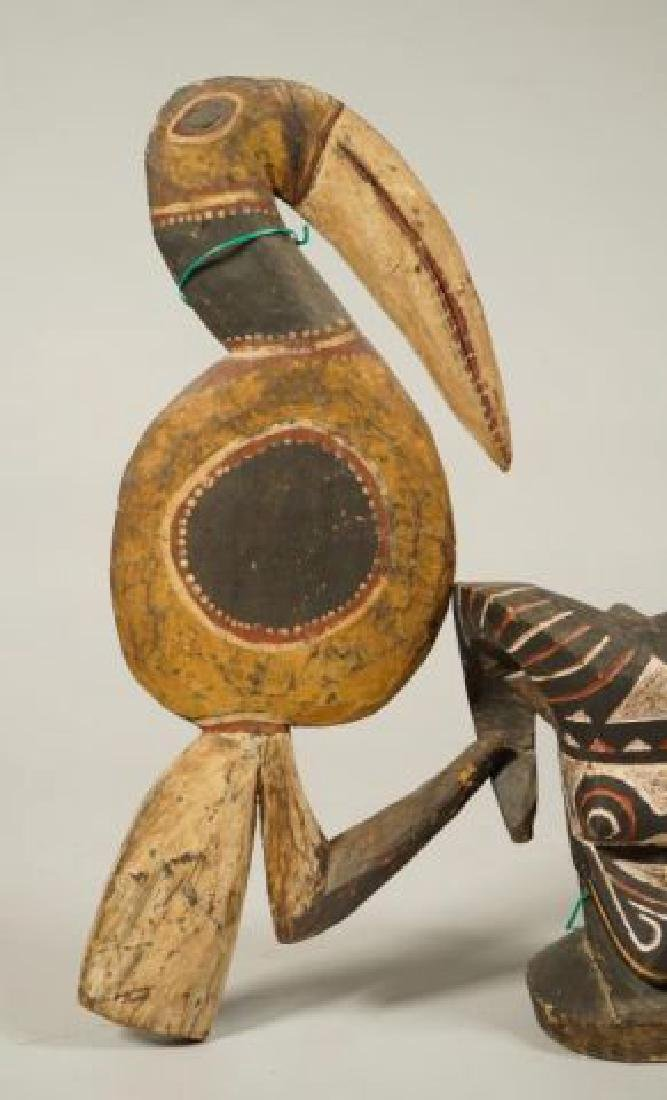 AFRICAN CARVED and PAINTED RAM AND HORNBILL - 6