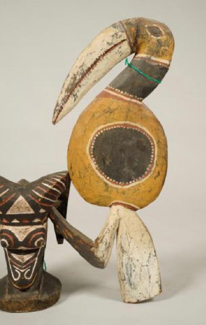 AFRICAN CARVED and PAINTED RAM AND HORNBILL - 7