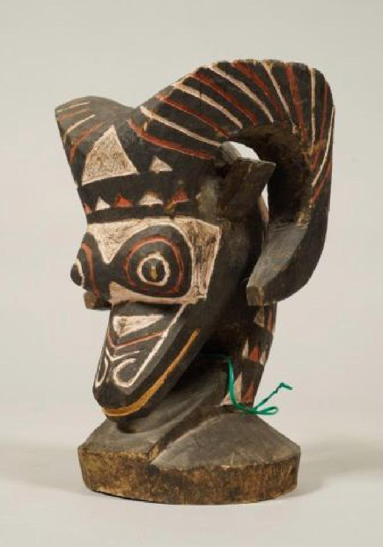 AFRICAN CARVED and PAINTED RAM AND HORNBILL - 9