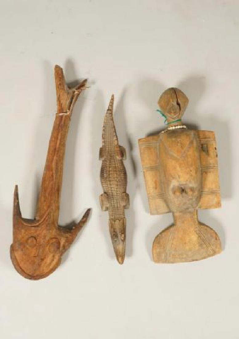 AFRICAN CARVED FISH, BIRD AND CROCODILE