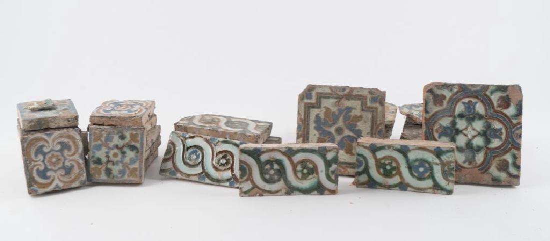 (16th c) SPANISH TILES w MOORISH POLYCHROME GLAZE