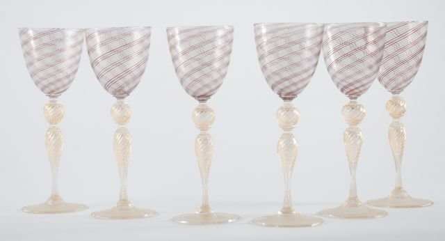 SET OF SIX  VENETIAN GOBLETS - 2