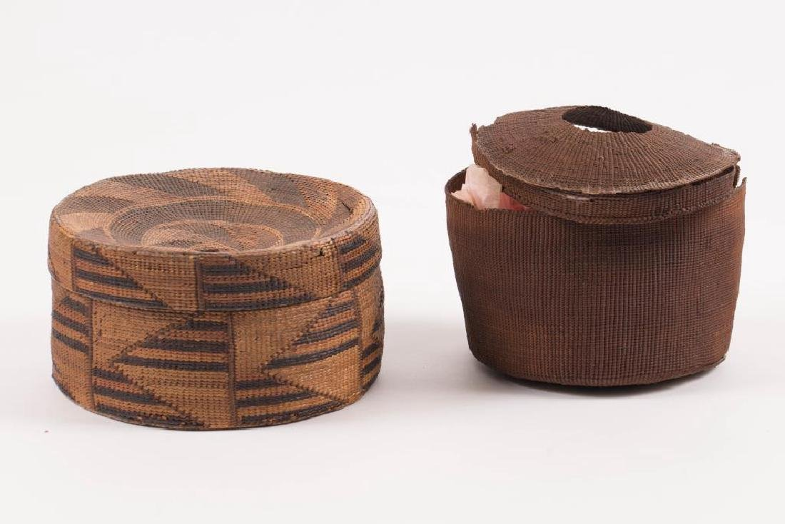 (2) FINELY WOVEN NATIVE AMERICAN COVERED BASKETS