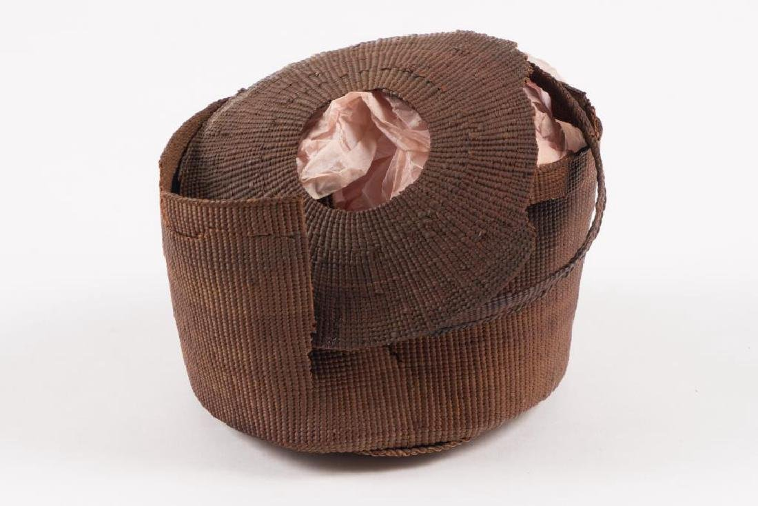 (2) FINELY WOVEN NATIVE AMERICAN COVERED BASKETS - 3