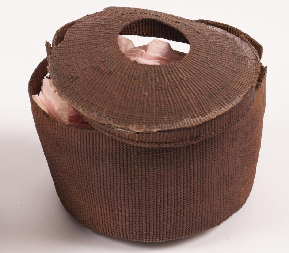 (2) FINELY WOVEN NATIVE AMERICAN COVERED BASKETS - 5