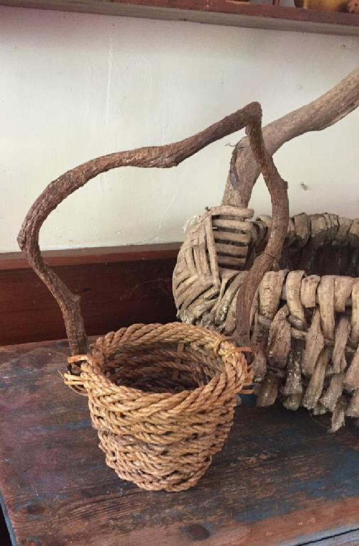 TWO RUSTIC ADIRONDACK BASKETS - 2