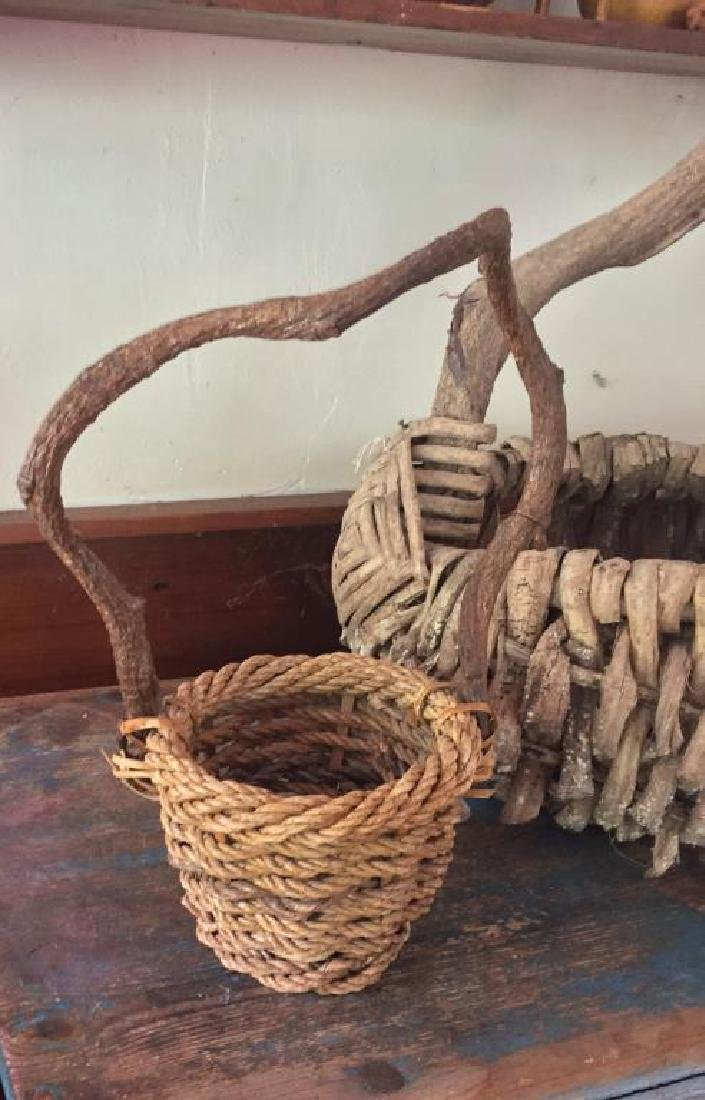 TWO RUSTIC ADIRONDACK BASKETS - 3