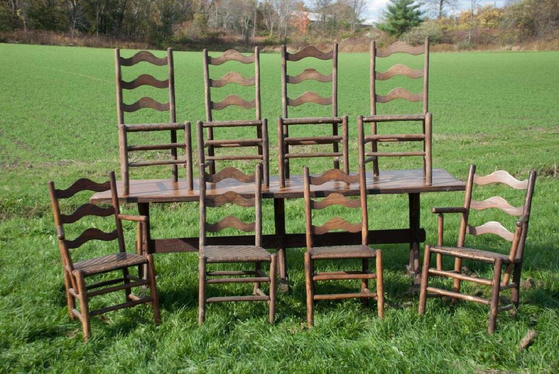 """OLD HICKORY"" ADIRONDACK RUSTIC DINING TABLE AND CHAIRS - 2"