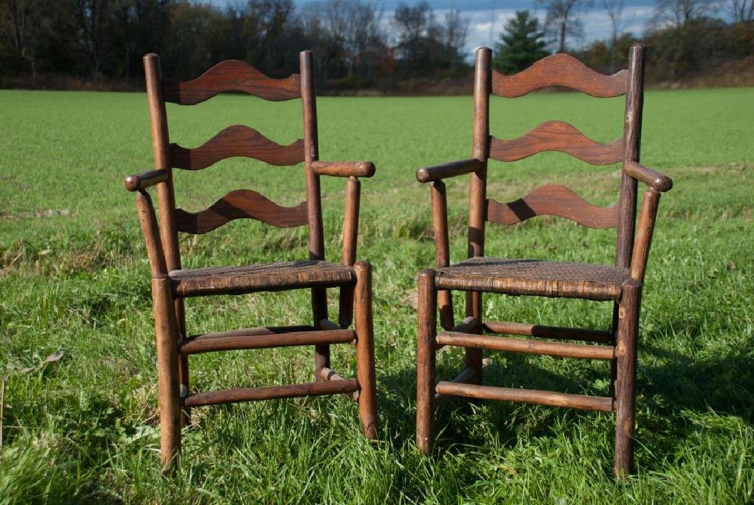 """OLD HICKORY"" ADIRONDACK RUSTIC DINING TABLE AND CHAIRS - 3"