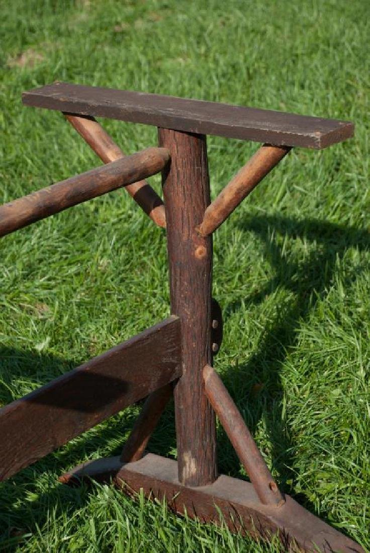 """OLD HICKORY"" ADIRONDACK RUSTIC DINING TABLE AND CHAIRS - 8"