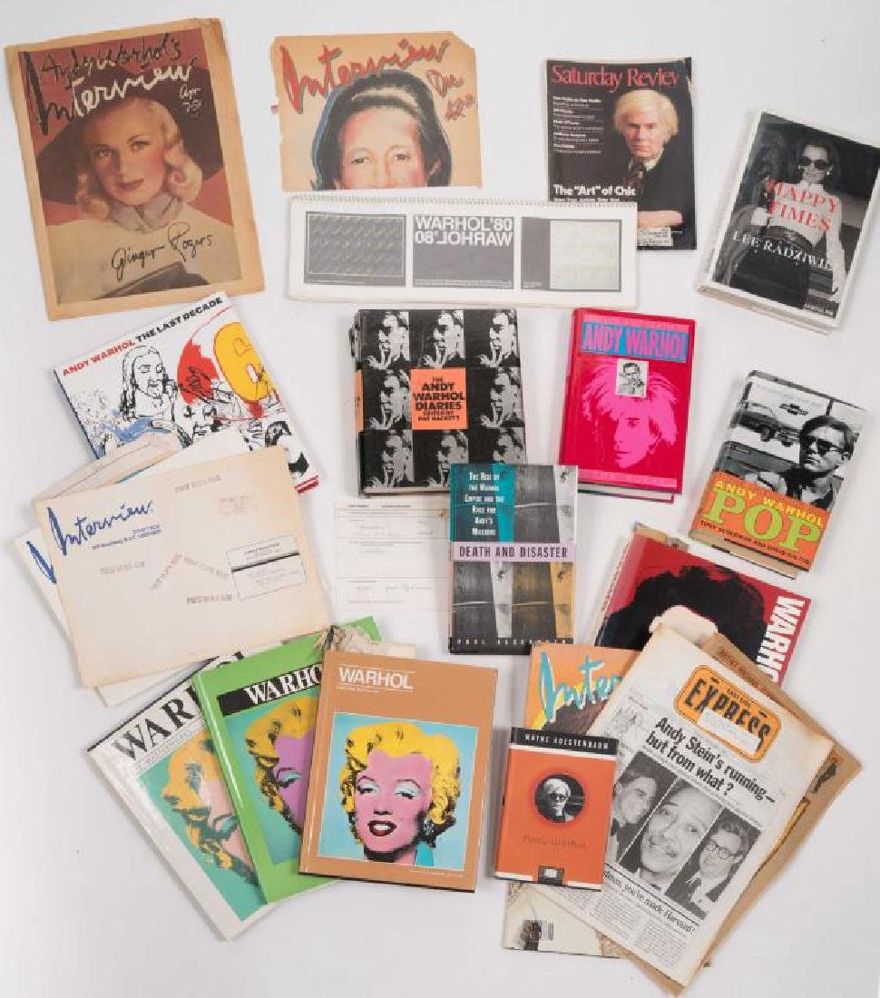 SELECTION OF BOOKS & MAGAZINES on ANDY WARHOL etc