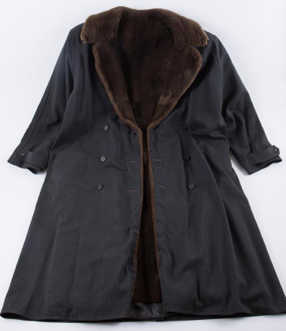 WOOL OVERCOAT with FAUX FUR COLLAR AND LINER