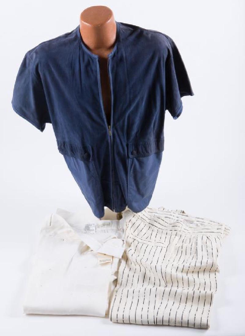 VERSACE SHORT SLEEVE SUEDE TOP & (2) LINEN PANTS