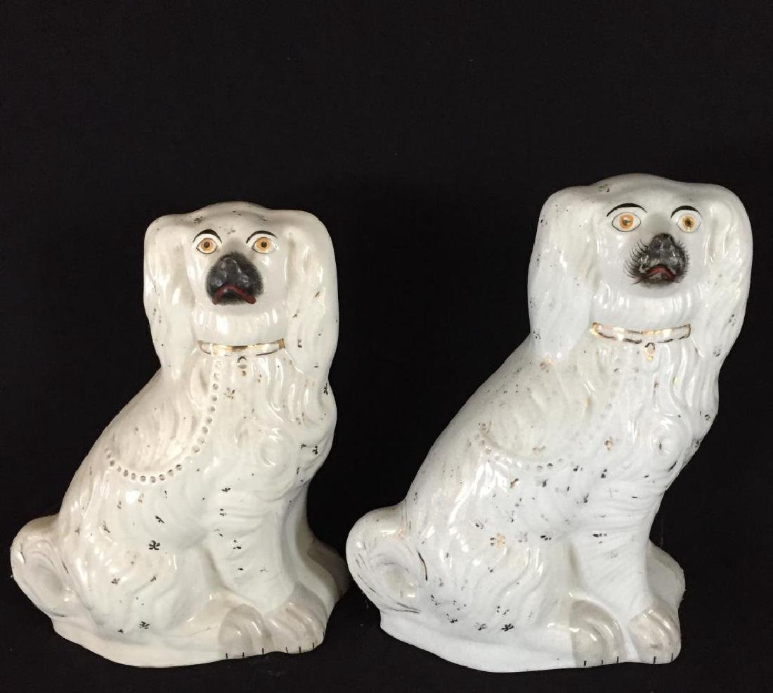 PAIR OF LARGE STAFFORDSHIRE DOGS