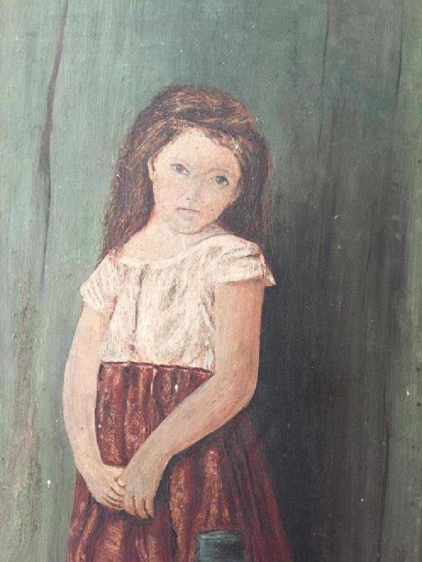 NIAVE PORTRAIT OF A YOUNG GIRL OIL ON BOARD - 4