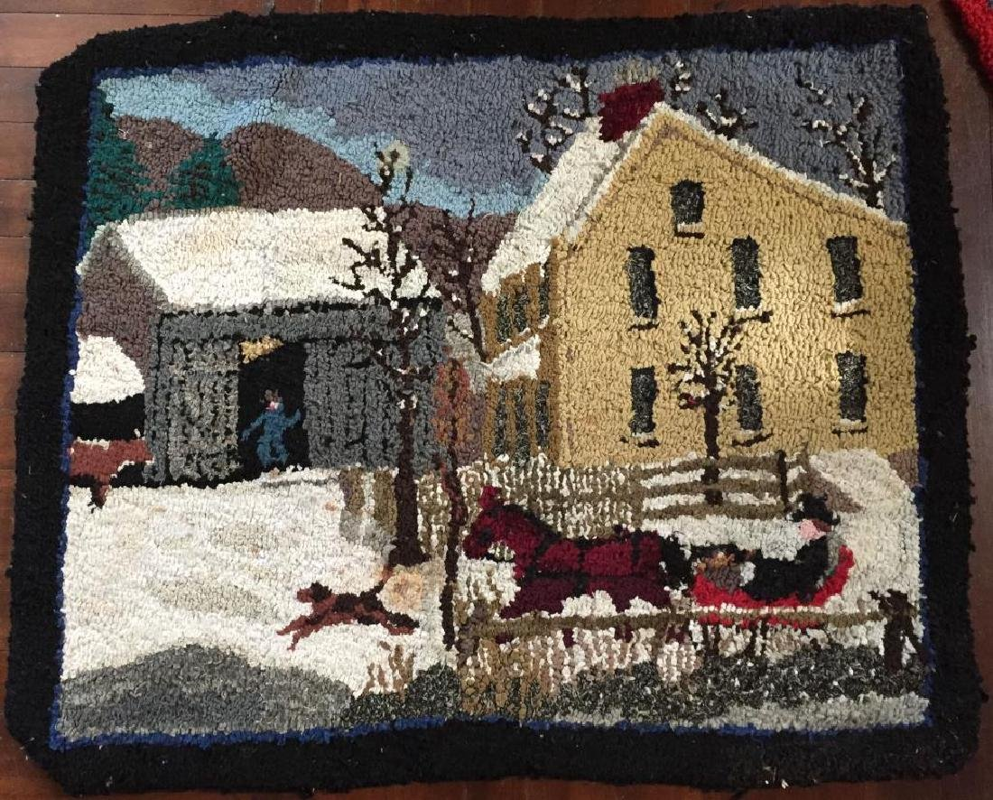 HOOKED RUG COUNTRY FARM SCENE