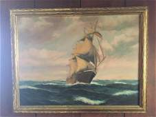 T BAILEY SHIP PAINTING OIL ON CANVAS