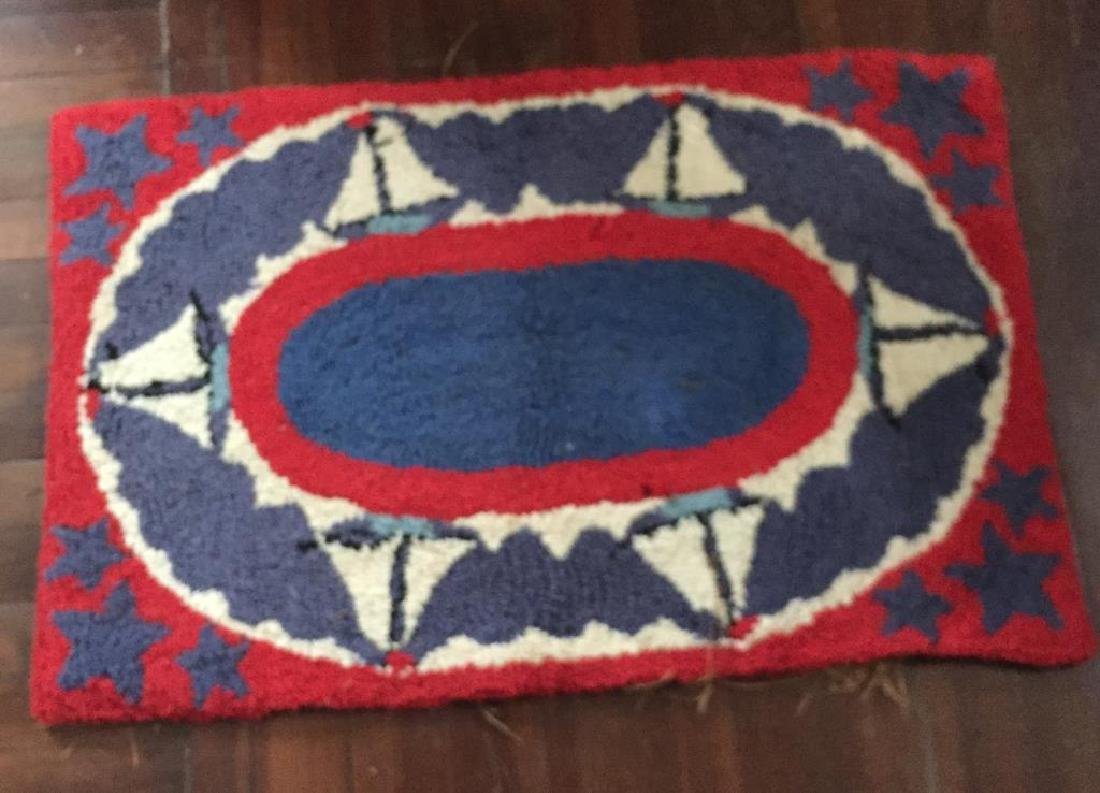 HOOKED RUG with SAILBOATS