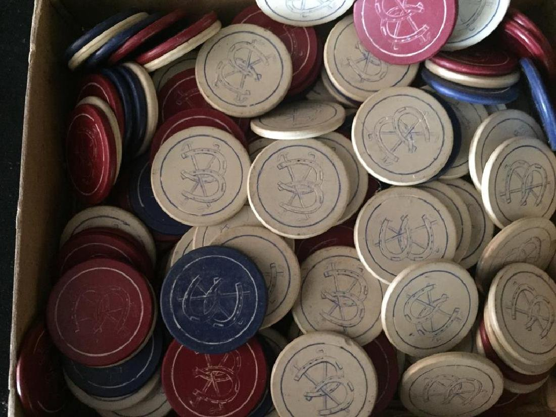 TWO GROUPS OF HORSE THEME POKER CHIPS - 2