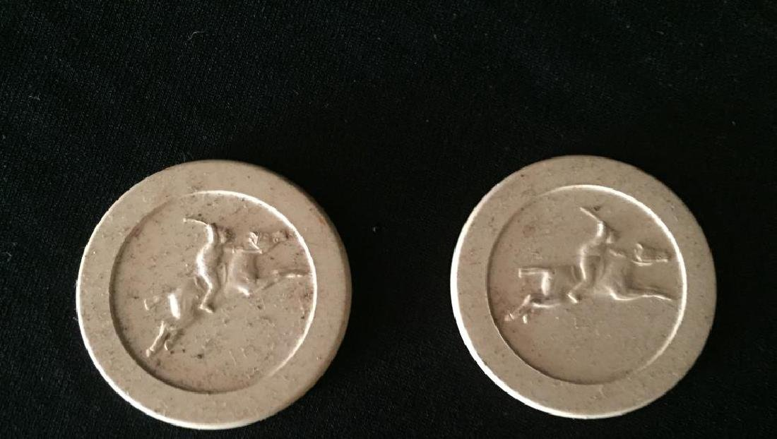 TWO GROUPS OF HORSE THEME POKER CHIPS - 6
