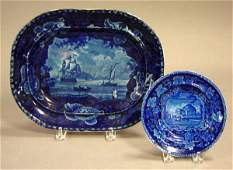 654: Two pieces of dark blue Historical Staffordshire c