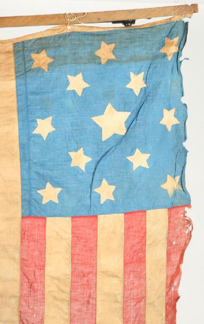 VERY EARLY THIRTEEN STAR AMERICAN FLAG - 2