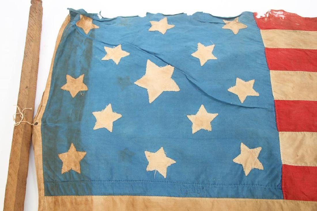 VERY EARLY THIRTEEN STAR AMERICAN FLAG - 8