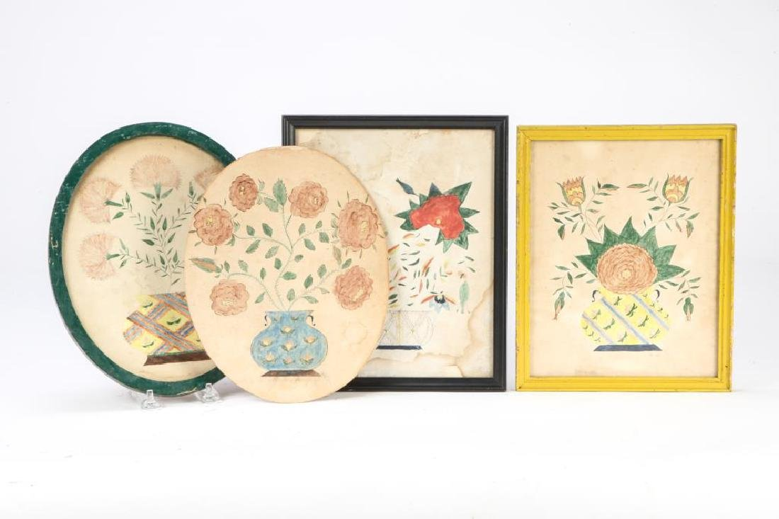 (4) SCHOOLGIRL ACADEMY PAINTINGS OF FLOWERS 1829