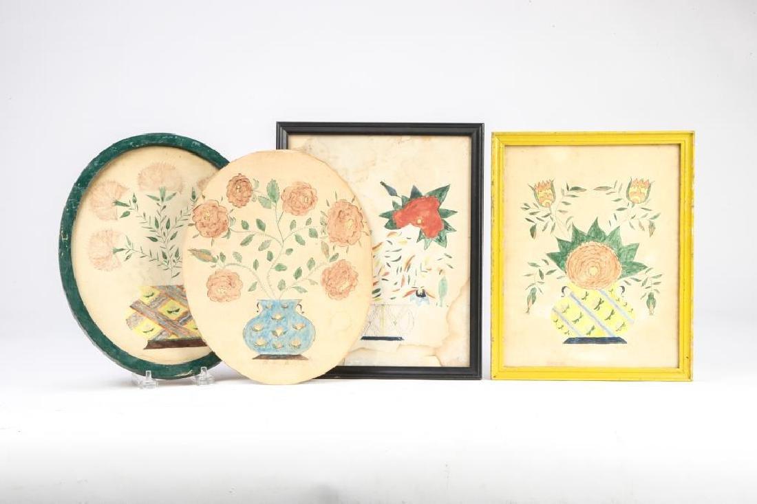 (4) SCHOOLGIRL ACADEMY PAINTINGS OF FLOWERS 1829 - 4