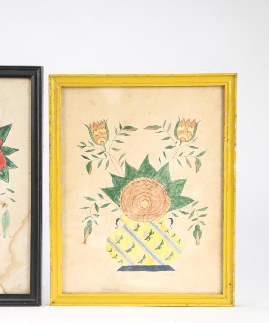 (4) SCHOOLGIRL ACADEMY PAINTINGS OF FLOWERS 1829 - 5