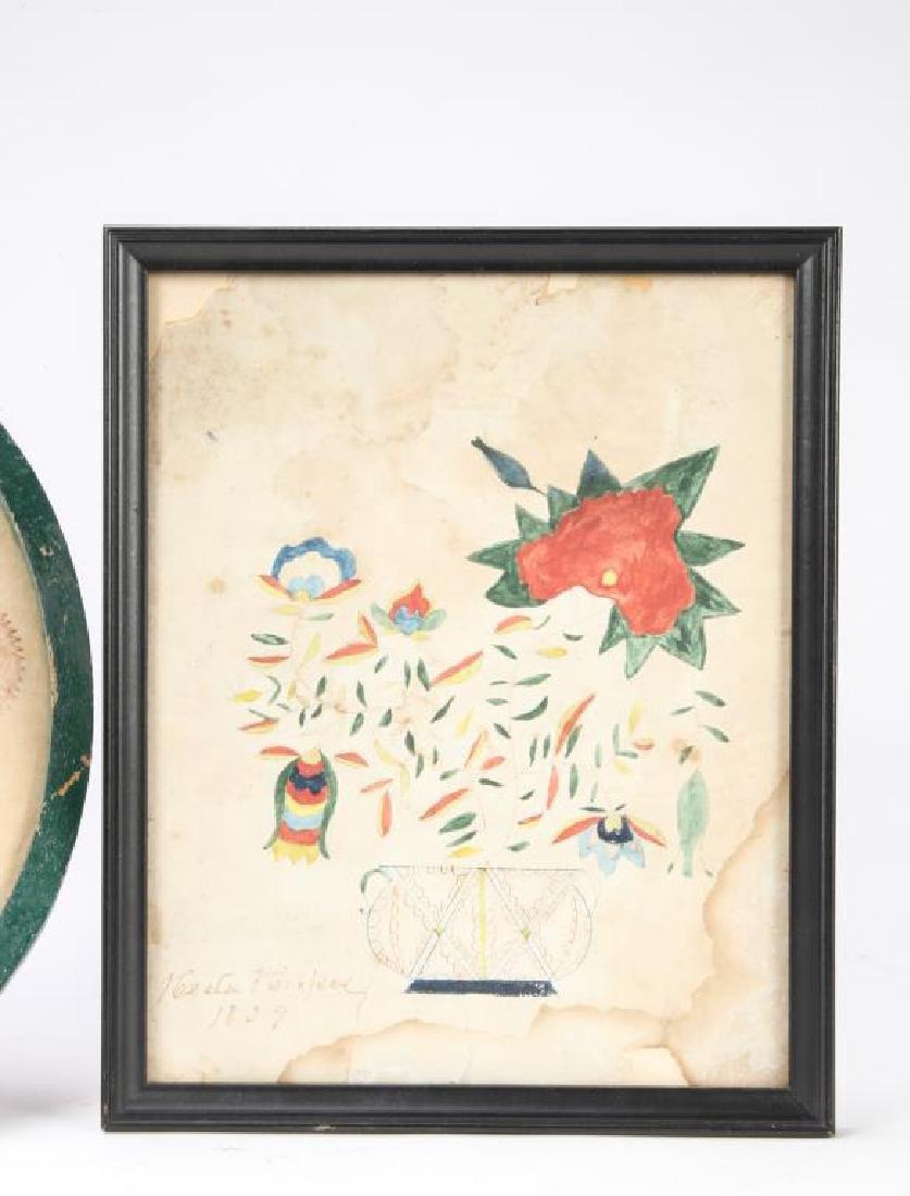 (4) SCHOOLGIRL ACADEMY PAINTINGS OF FLOWERS 1829 - 6