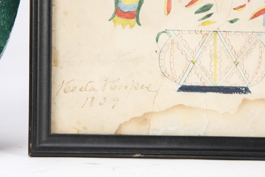 (4) SCHOOLGIRL ACADEMY PAINTINGS OF FLOWERS 1829 - 7